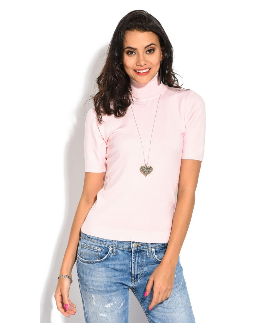 Image for William De Faye Roll Neck Short Sleeve Sweater in Pink