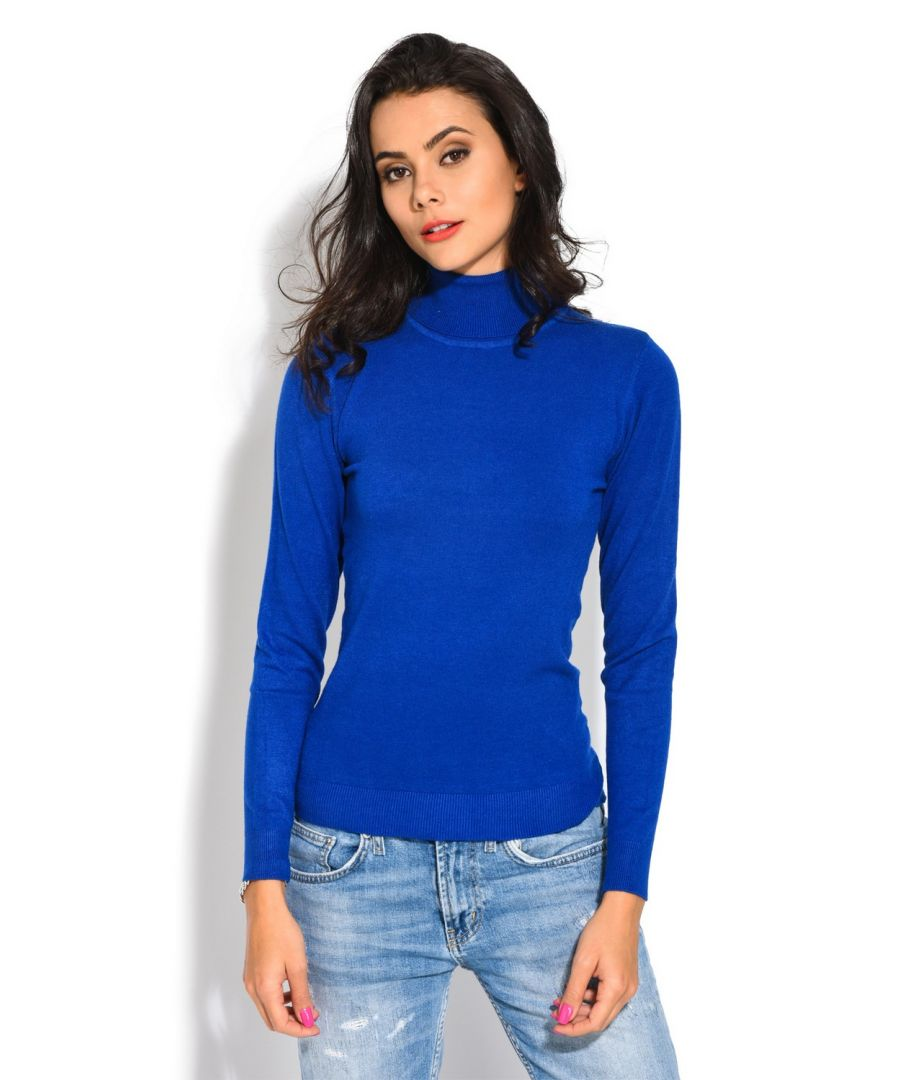 Image for William De Faye Roll Neck Short Sleeve Sweater in Blue