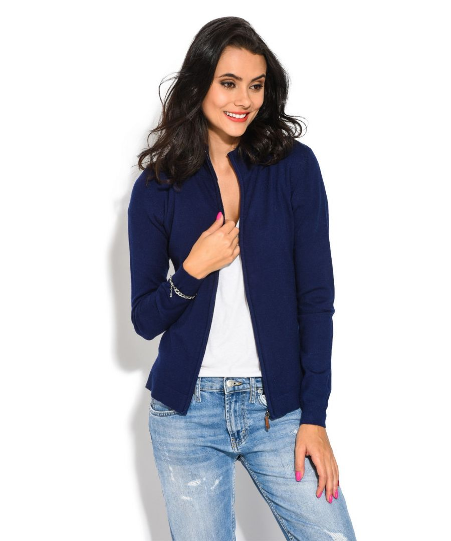 Image for William De Faye Long Sleeve Zip Cardigan in Navy