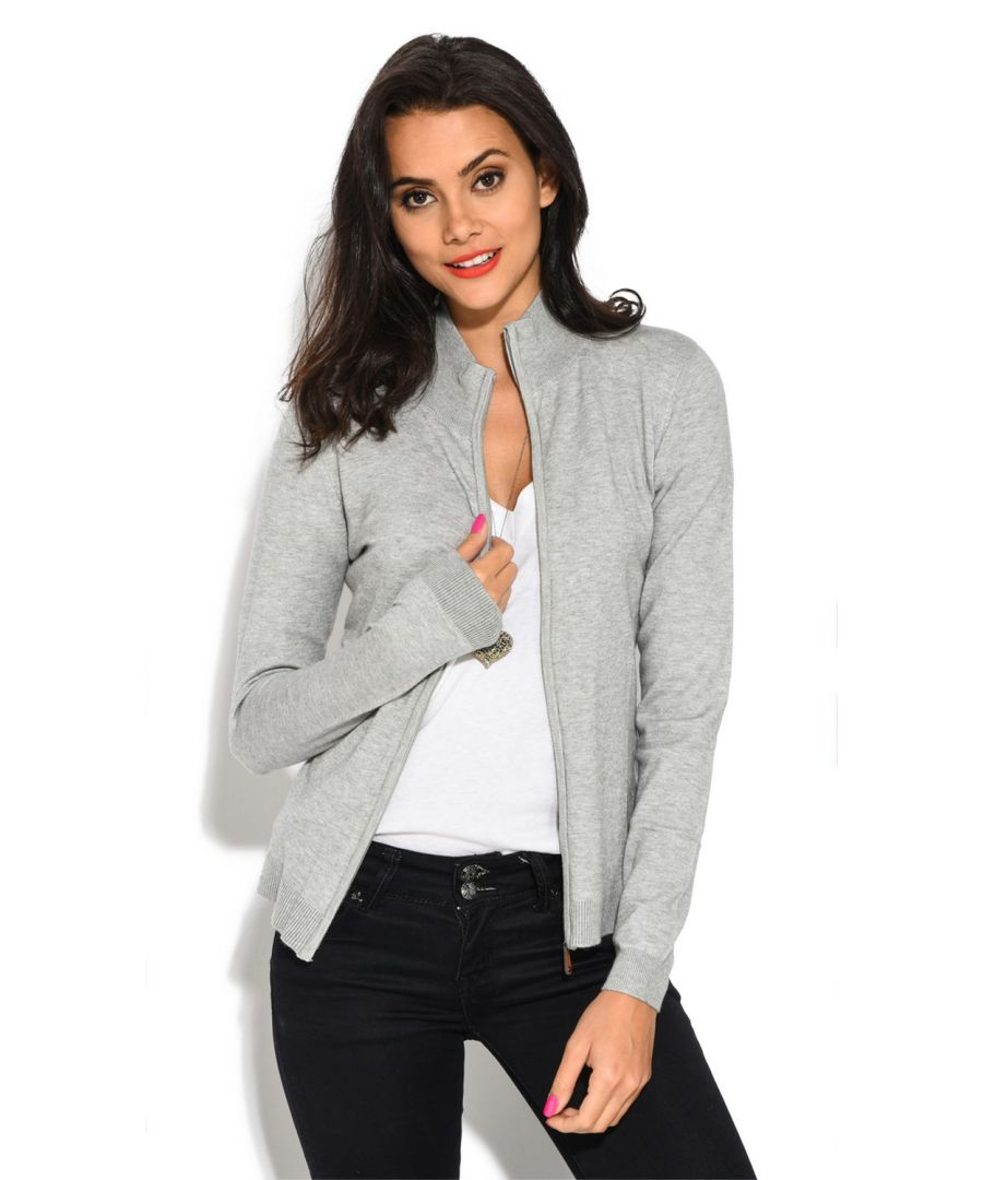 Image for William De Faye Long Sleeve Zip Cardigan in Light Grey