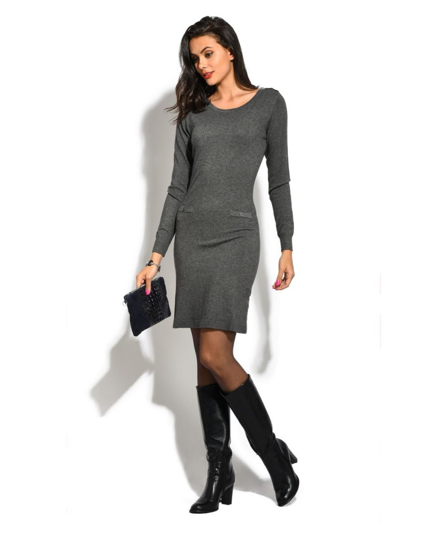 Image for William De Faye Boat Neck Buttoned Shoulder Dress in Grey