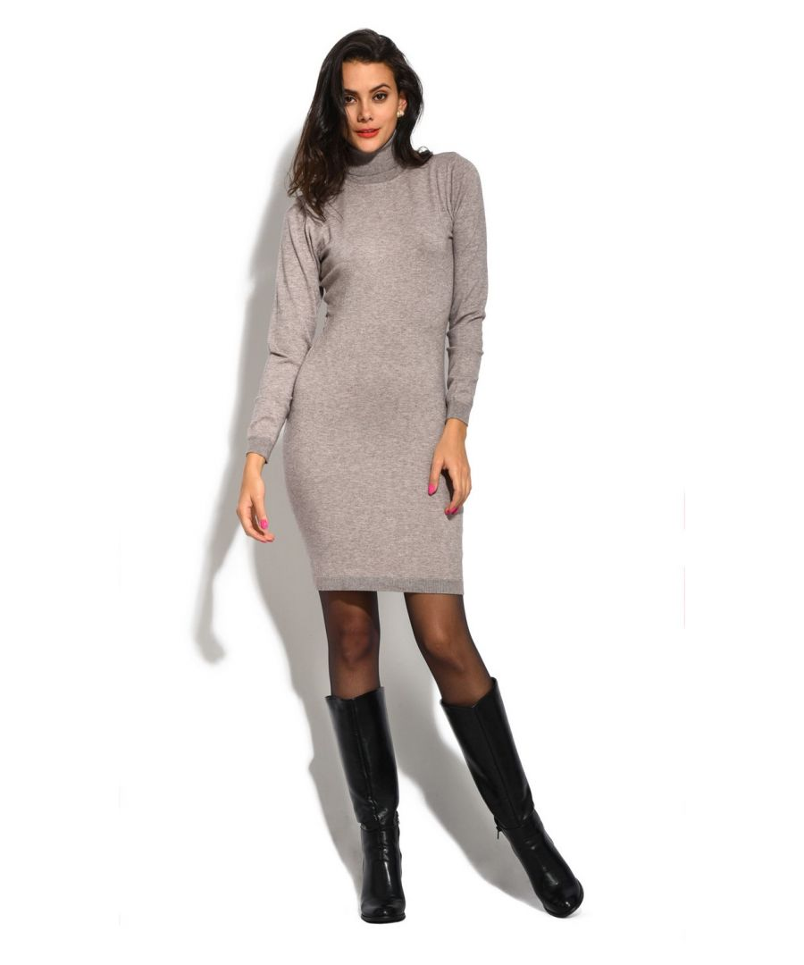 Image for William De Faye Roll Neck Long Sleeve Dress in Beige