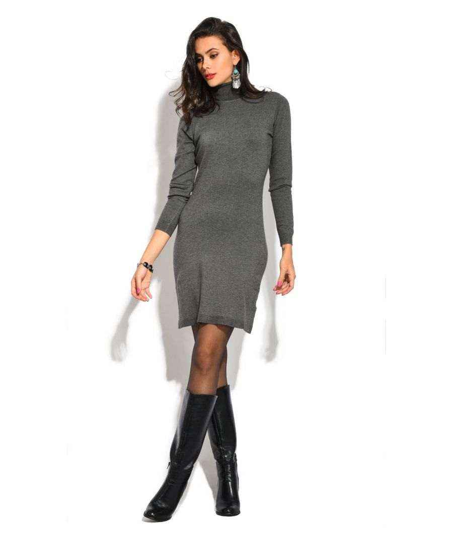 Image for William De Faye Roll Neck Long Sleeve Dress in Grey