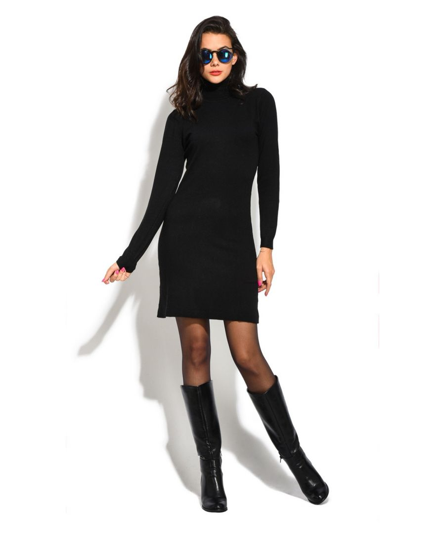 Image for William De Faye Roll Neck Long Sleeve Dress in Black