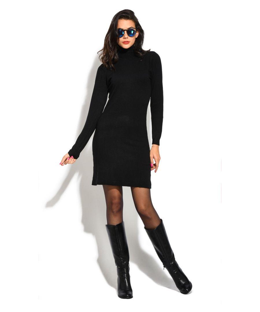 Image for William De Faye Roll Neck Long Sleeve Dress in Black