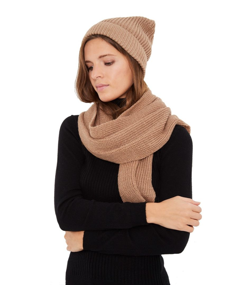 Image for William De Faye 4 Yarn 200x30cm Scarf & Beanie in Beige