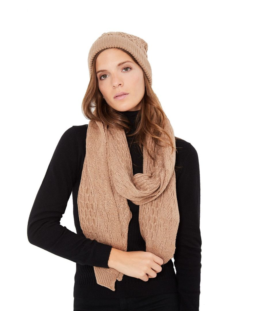 Image for William De Faye Twisted 4 Yarn 200x30cm Scarf & Beanie in Beige