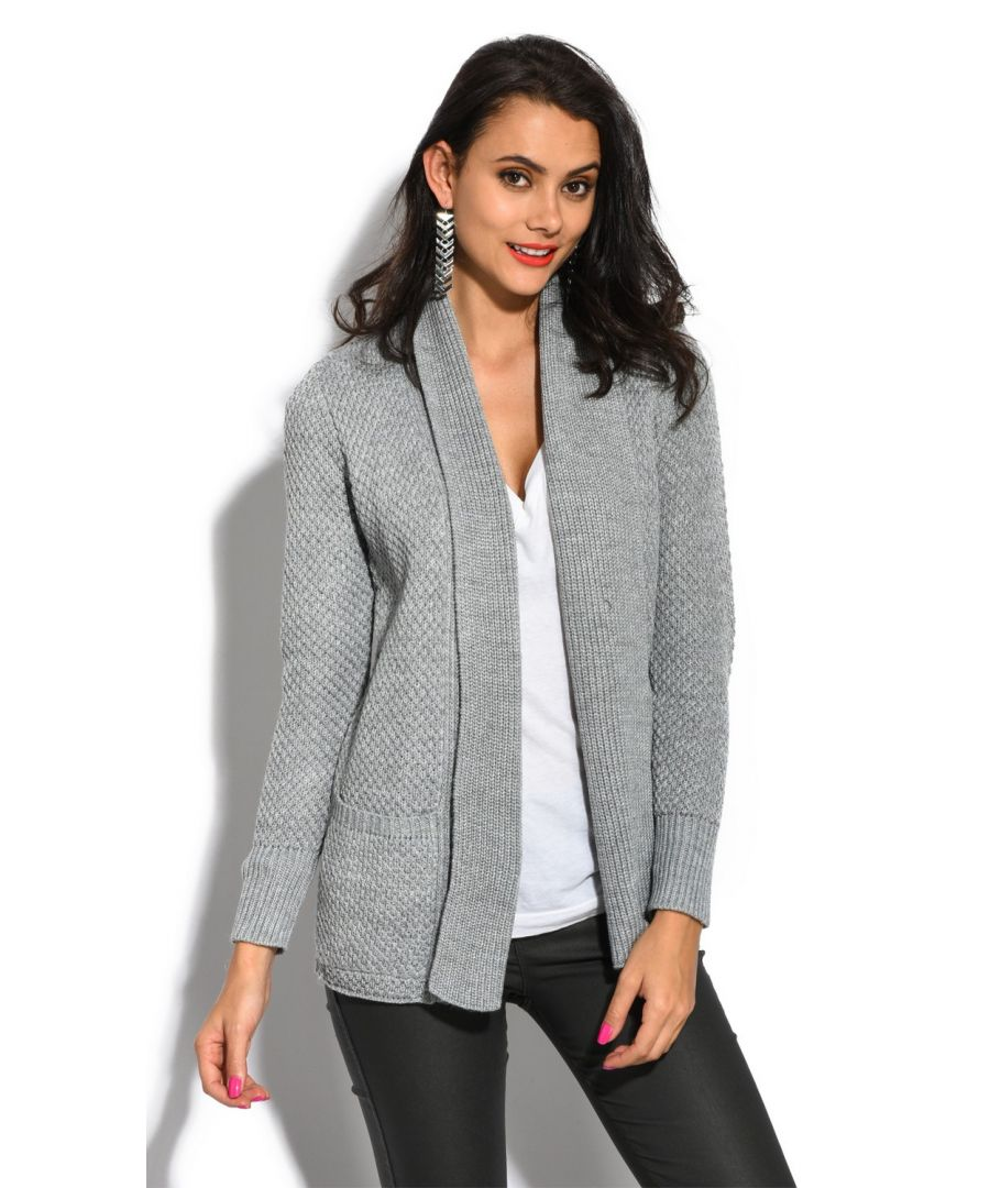 Image for William De Faye Pineapple Yarn Cardigan with Pockets in Grey