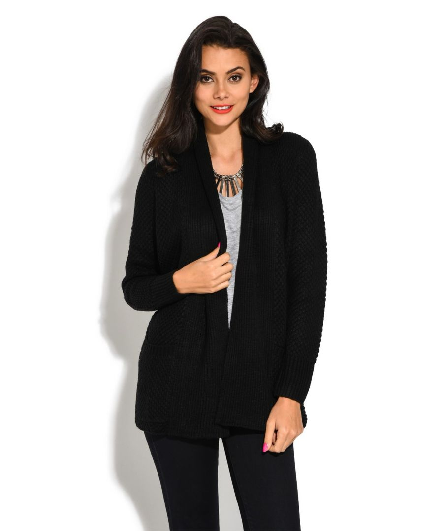 Image for William De Faye Pineapple Yarn Cardigan with Pockets in Black