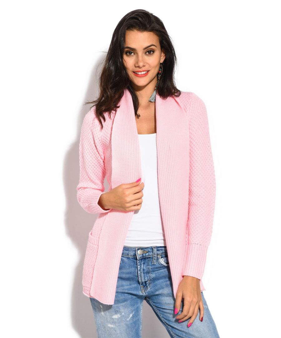 Image for William De Faye Pineapple Yarn Cardigan with Pockets in Pink