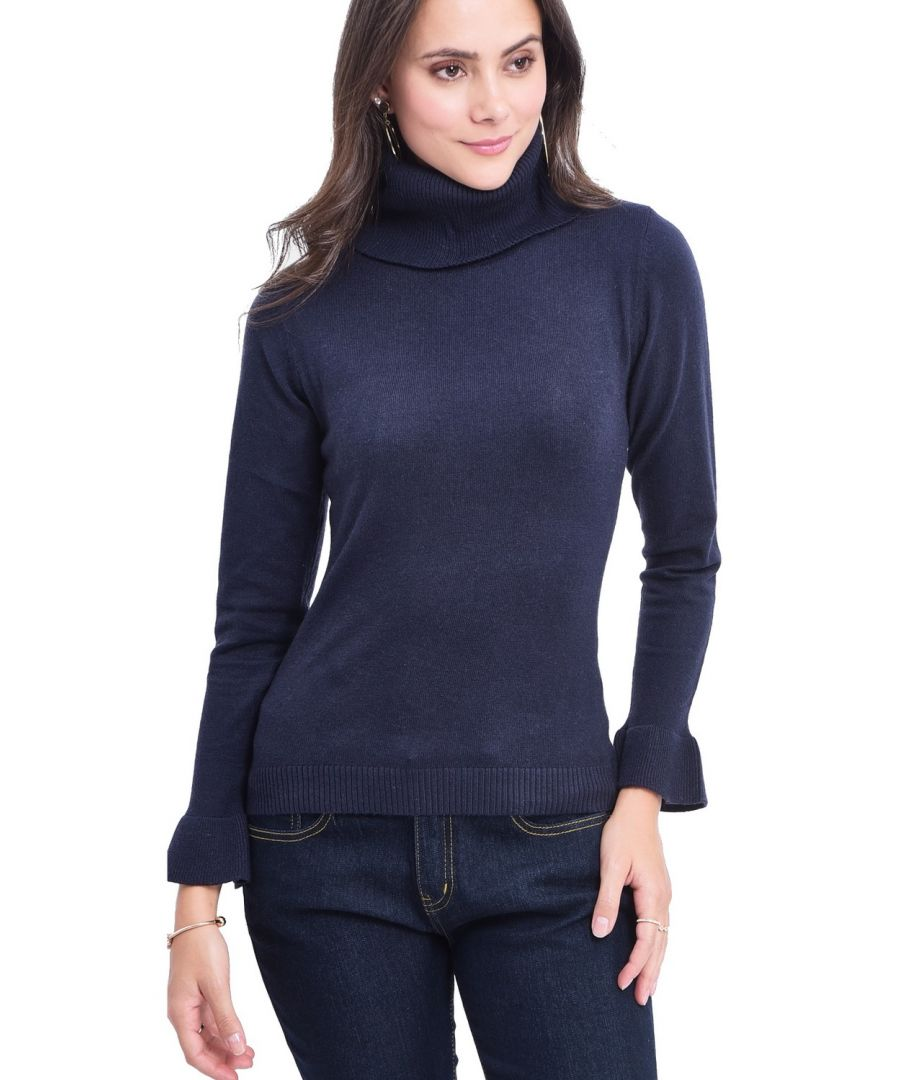 Image for William De Faye Roll Neck Ruffle Sleeve Sweater in Navy