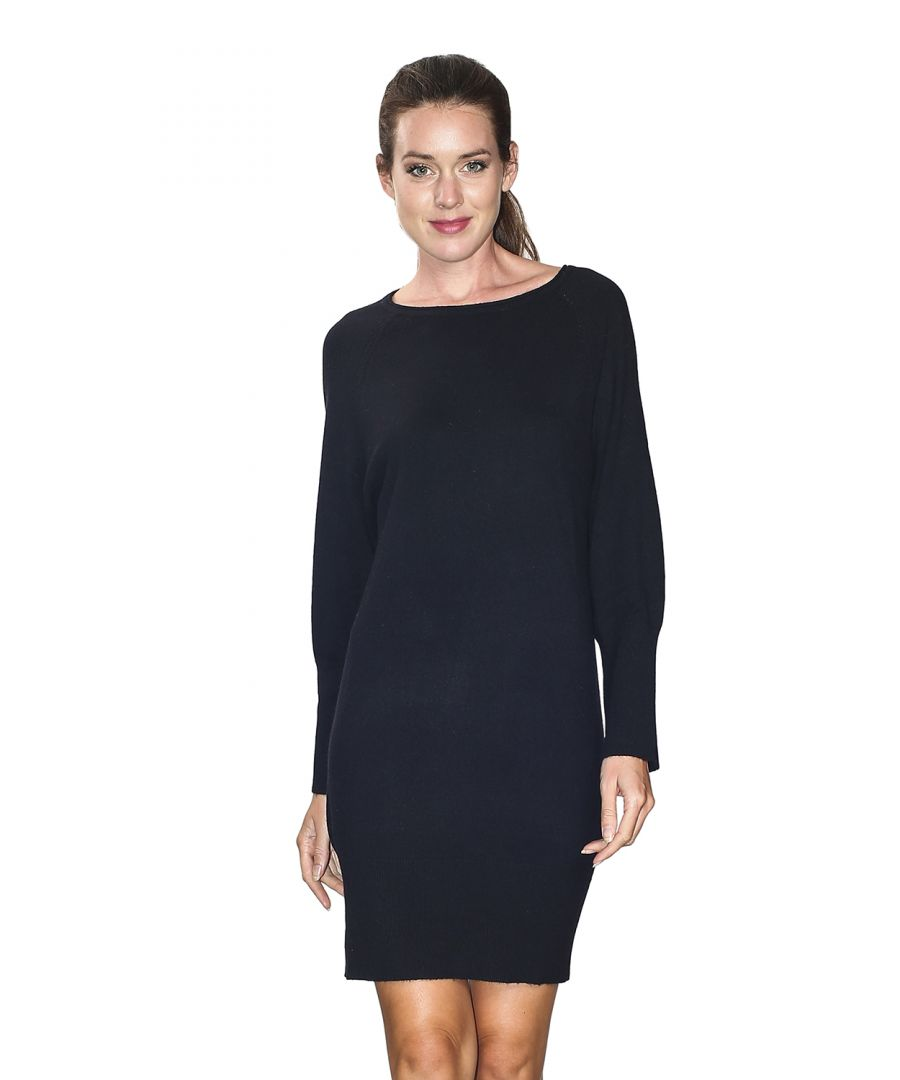 Image for William De Faye Boat Neck Open Stitch Work Shoulder Dress in Black