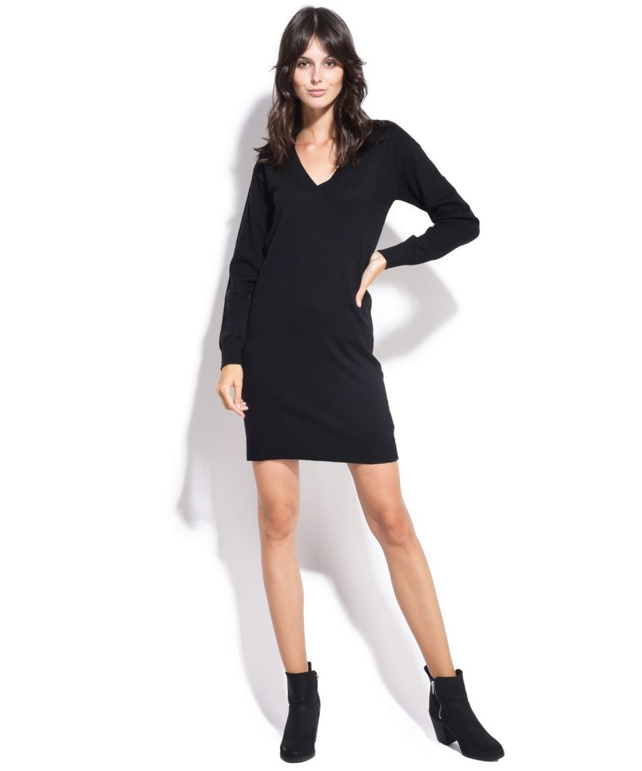 Image for William De Faye V-neck Crossover Dress in Black