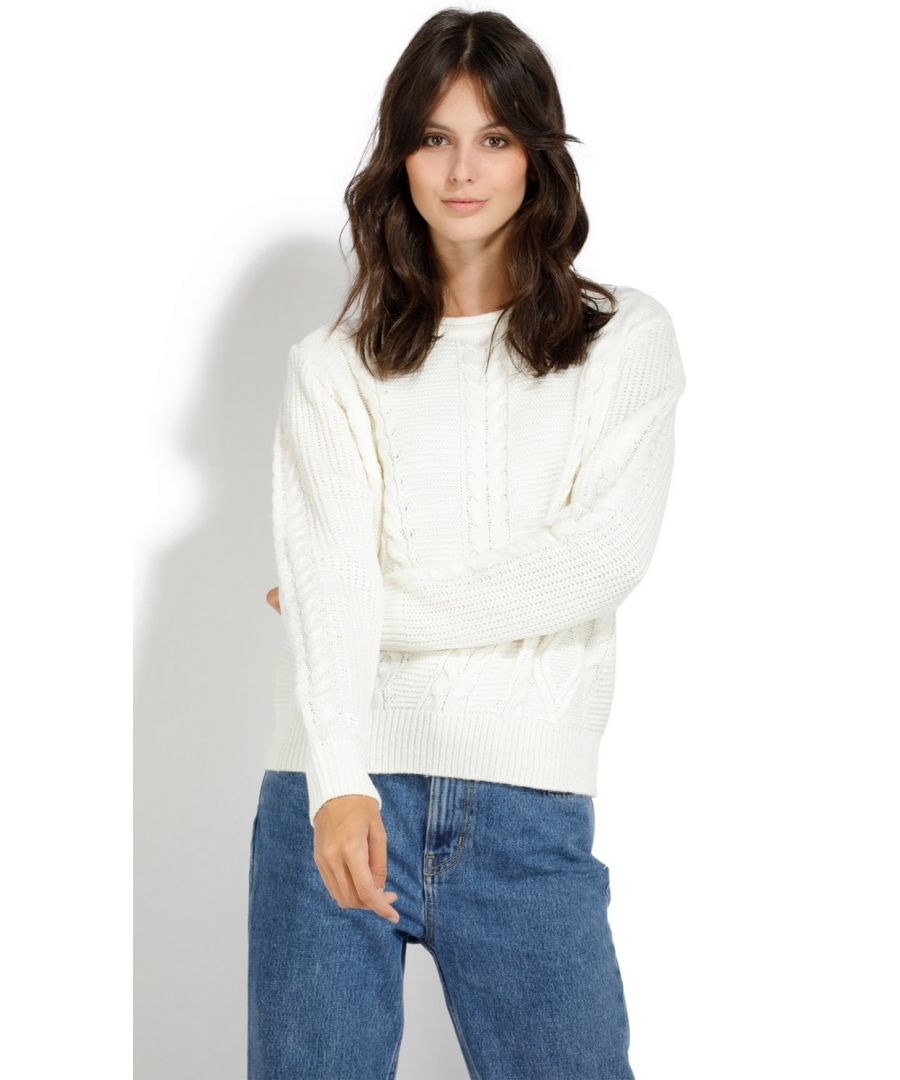 Image for William De Faye Round Neck Twisted Yarn Sweater in Natural