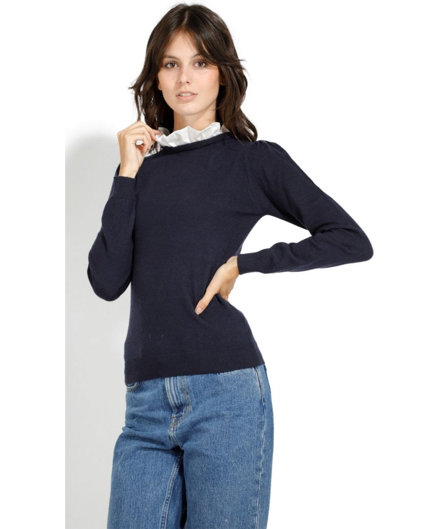 Image for William De Faye Ruffled Cotton Collar Sweater in Navy