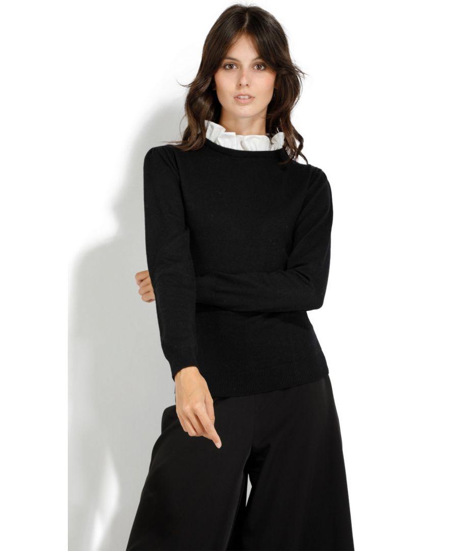 Image for William De Faye Ruffled Cotton Collar Sweater in Black