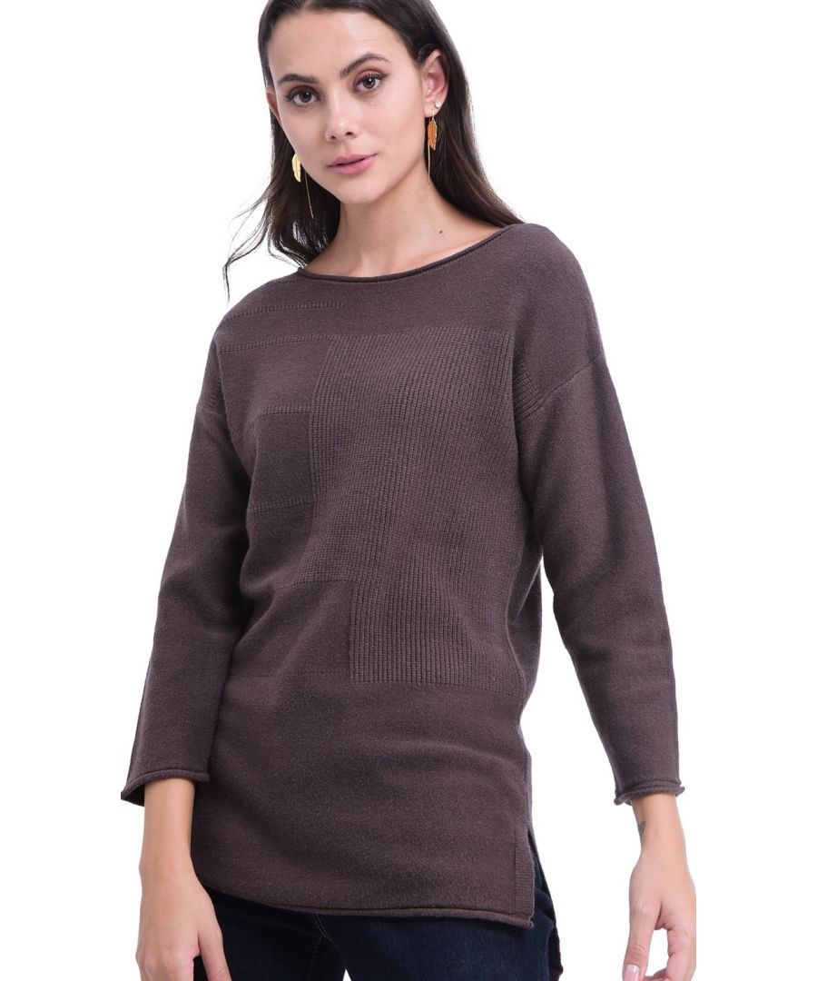 Image for William De Faye Round Neck Tunic in Brown