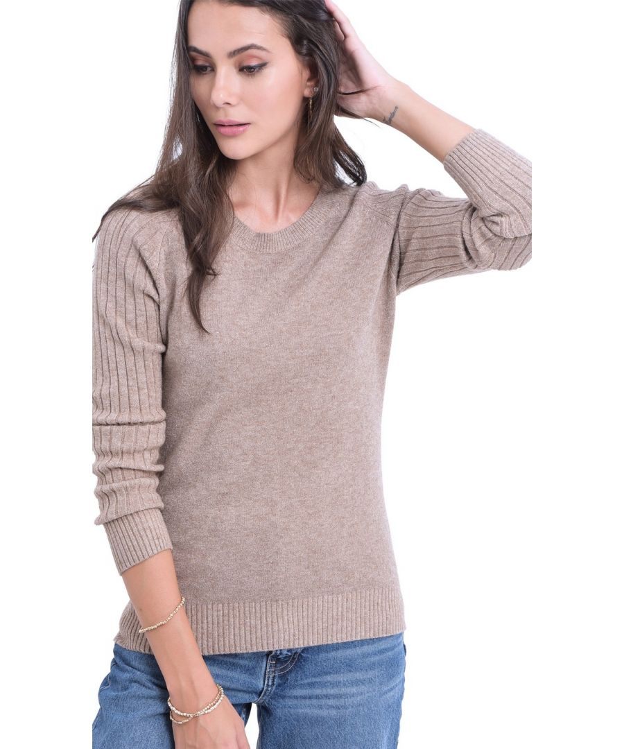 Image for William De Faye Round Neck Sweater with Ribbed Sleeves in Beige