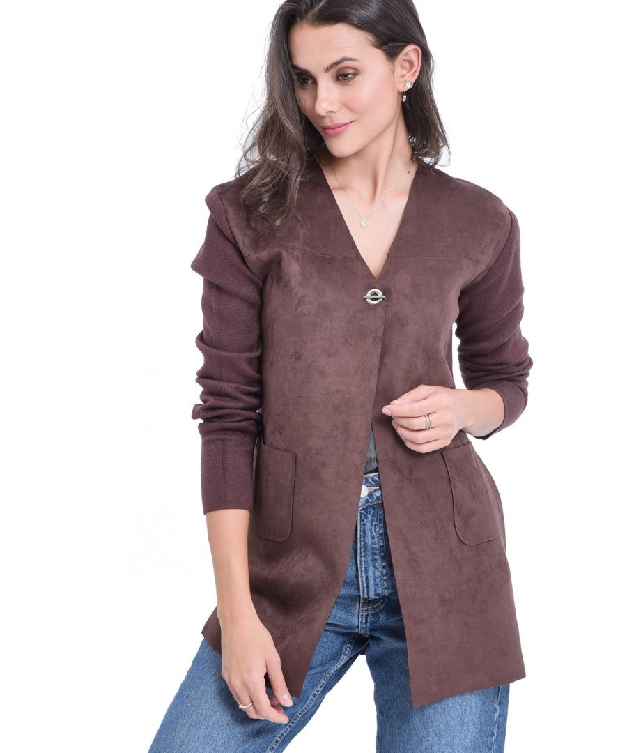 Image for William De Faye Longline Cardigan with Suede Pockets in Brown