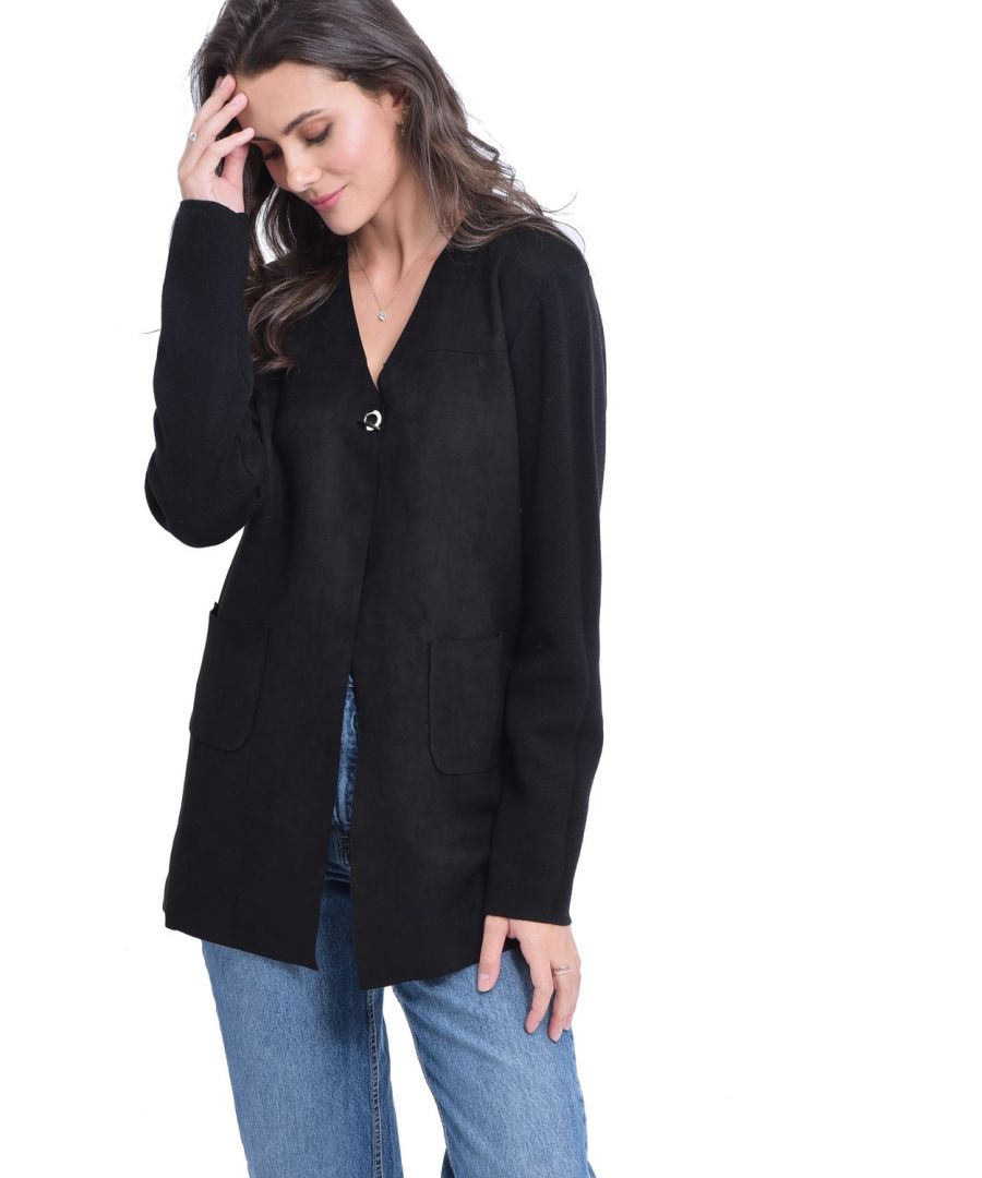 Image for William De Faye Longline Cardigan with Suede Pockets in Black