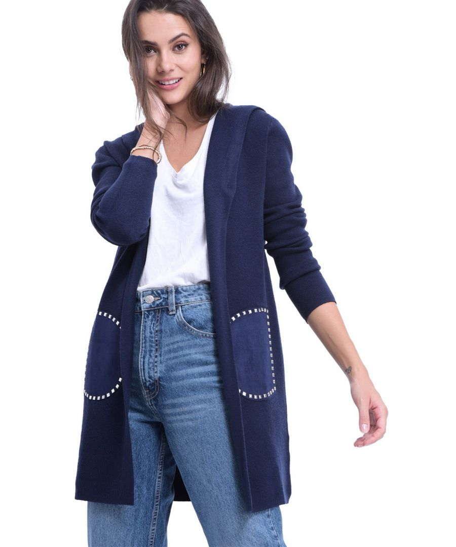 Image for William De Faye Longline Hooded Cardigan with Suede Pockets in Navy