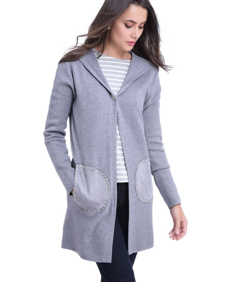 Image for William De Faye Longline Hooded Cardigan with Suede Pockets in Grey
