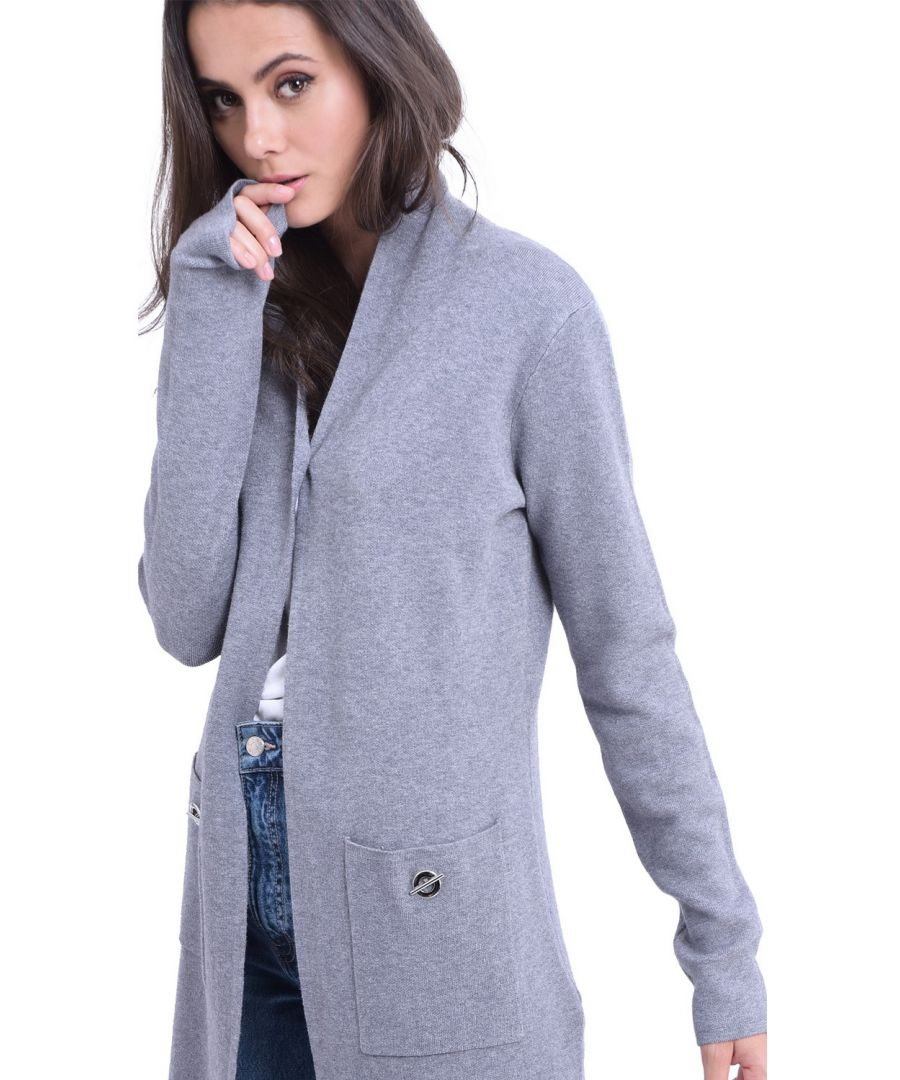 Image for William De Faye Longline Shawl Collar Cardigan with Pockets in Grey