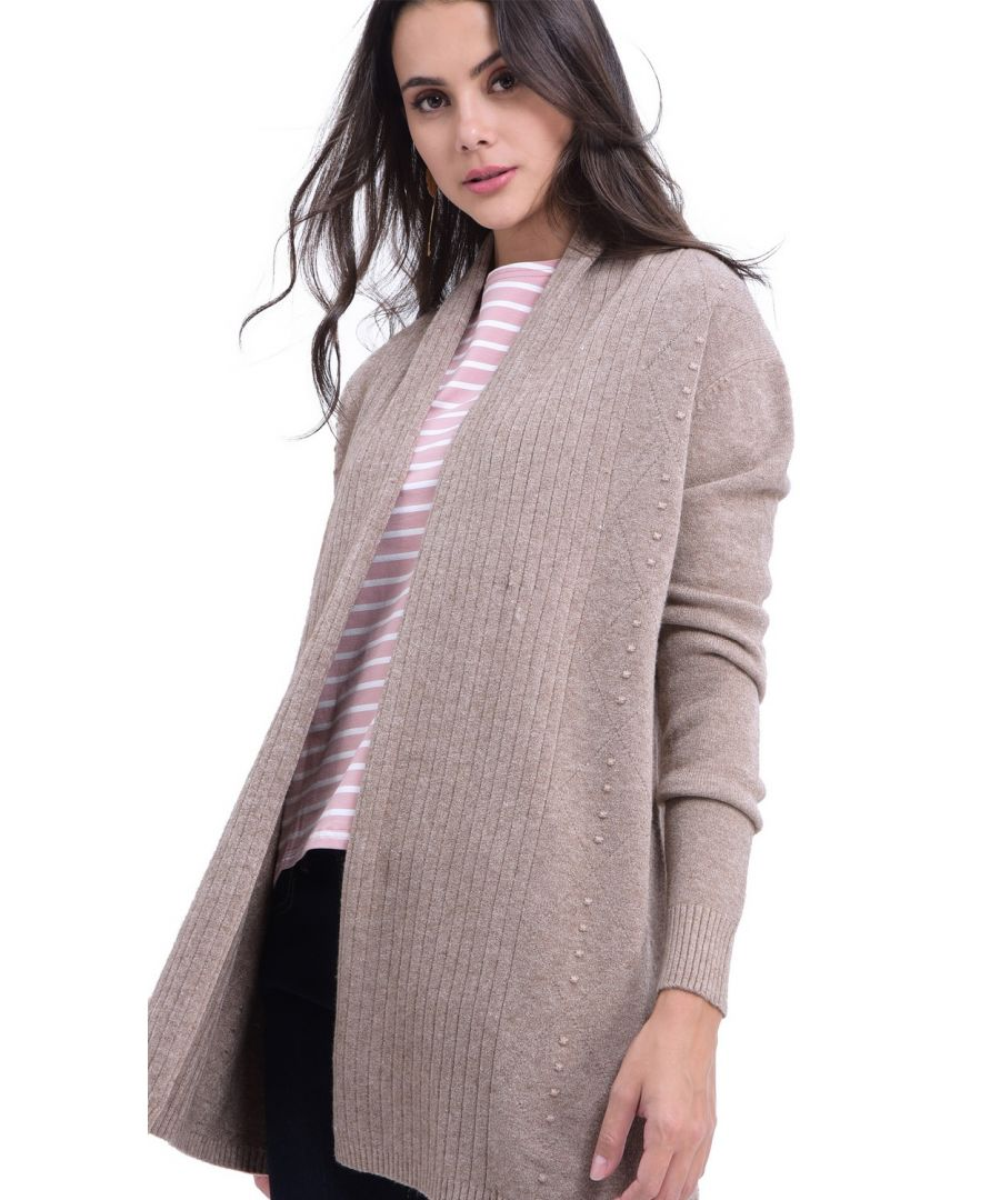 Image for William De Faye Longline Shawl Collar Ribbed Cardigan in Beige
