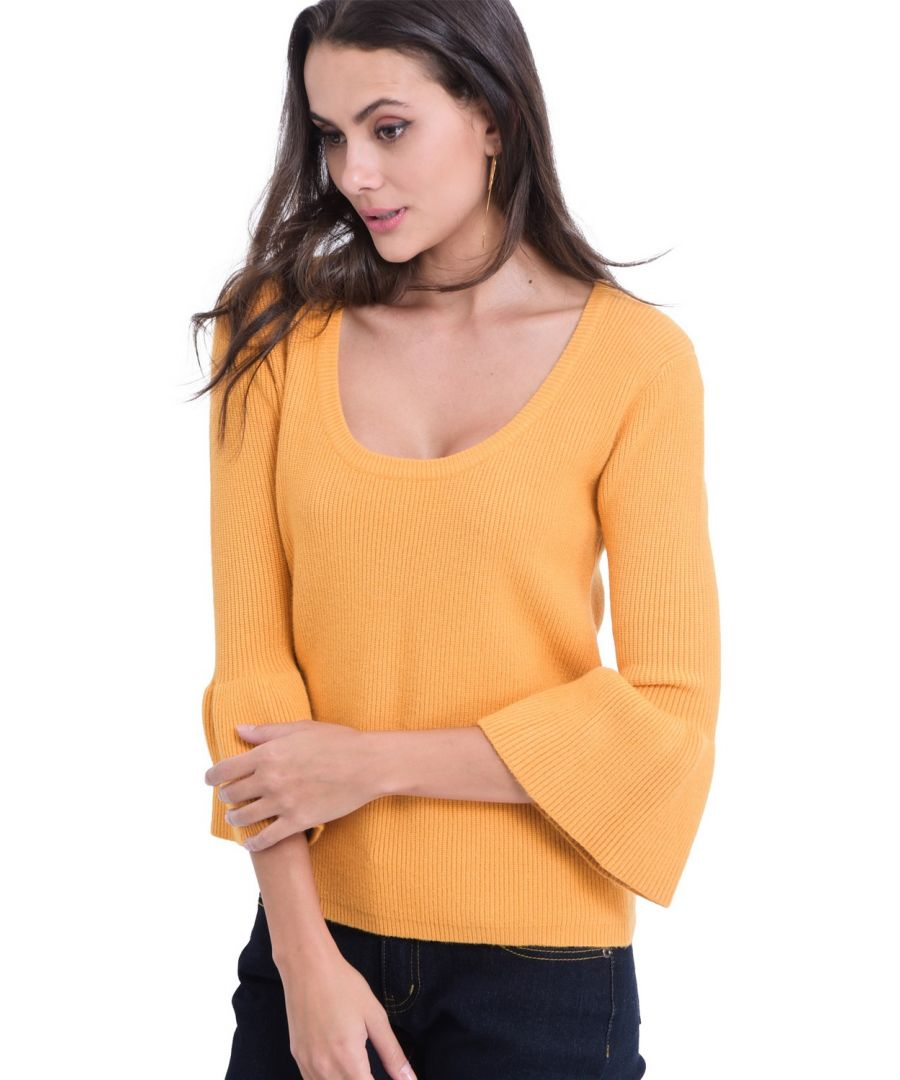 Image for William De Faye Round Neck Sweater with Babydoll Sleeves in Mustard