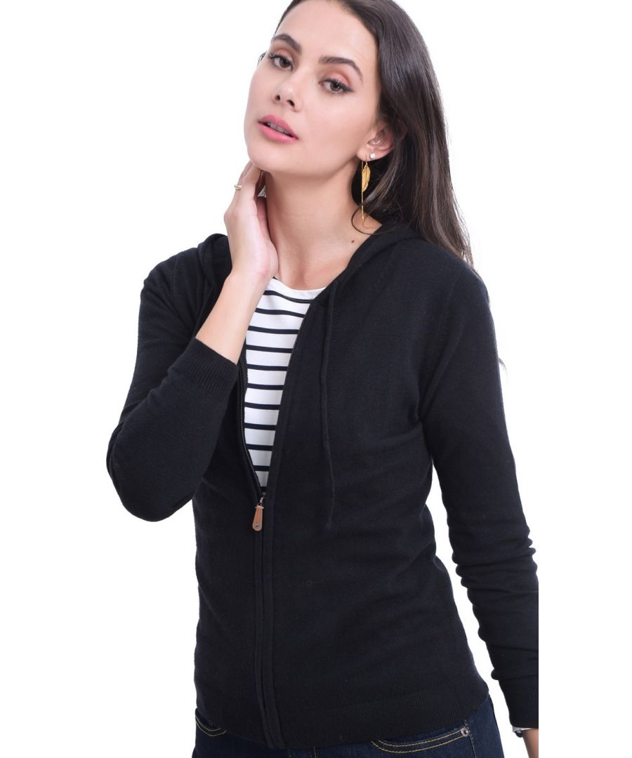 Image for William De Faye Hooded Zip-up Cardigan in Black