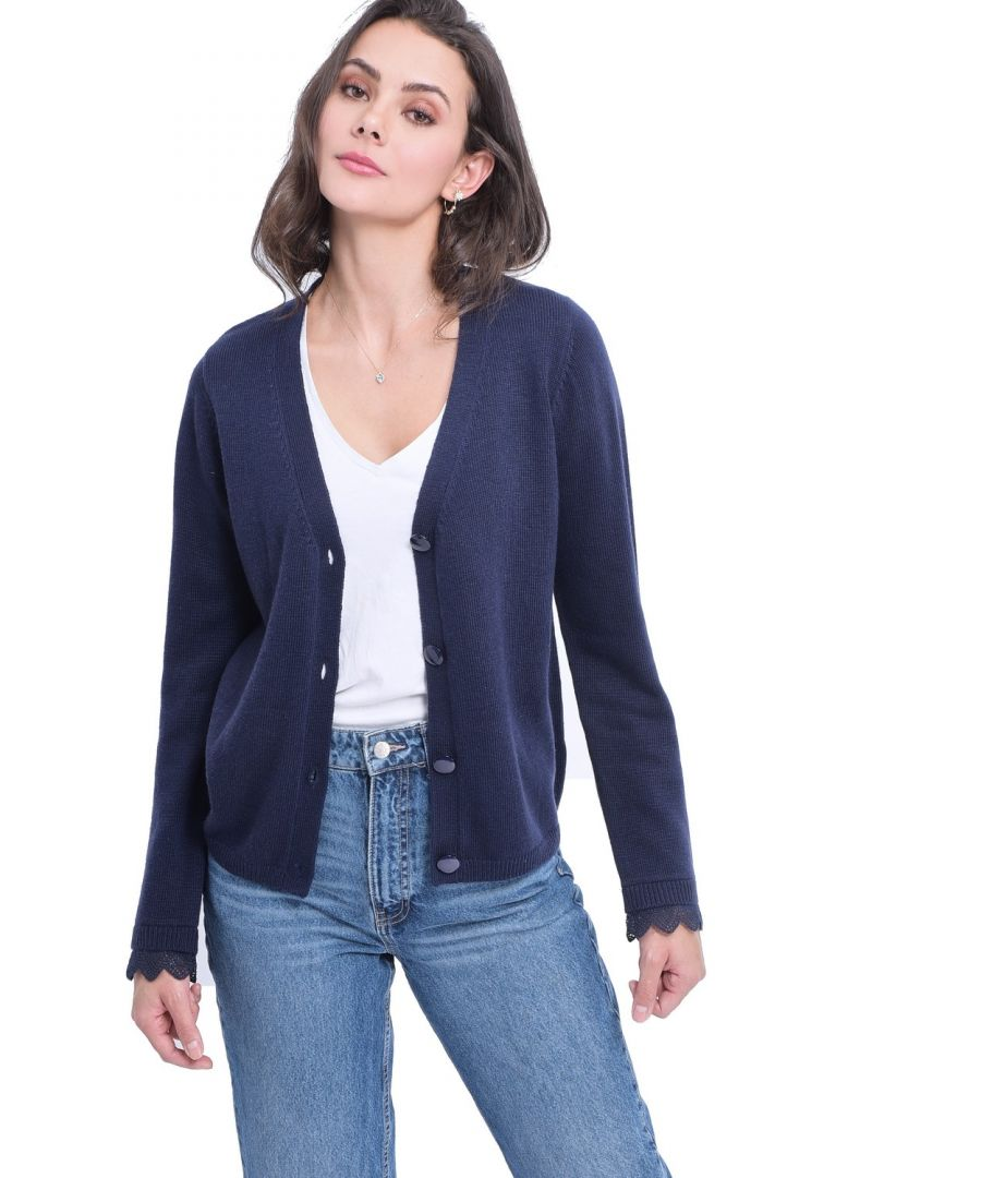 Image for William De Faye V-neck Cardigan with Lace Sleeve Detail in Navy