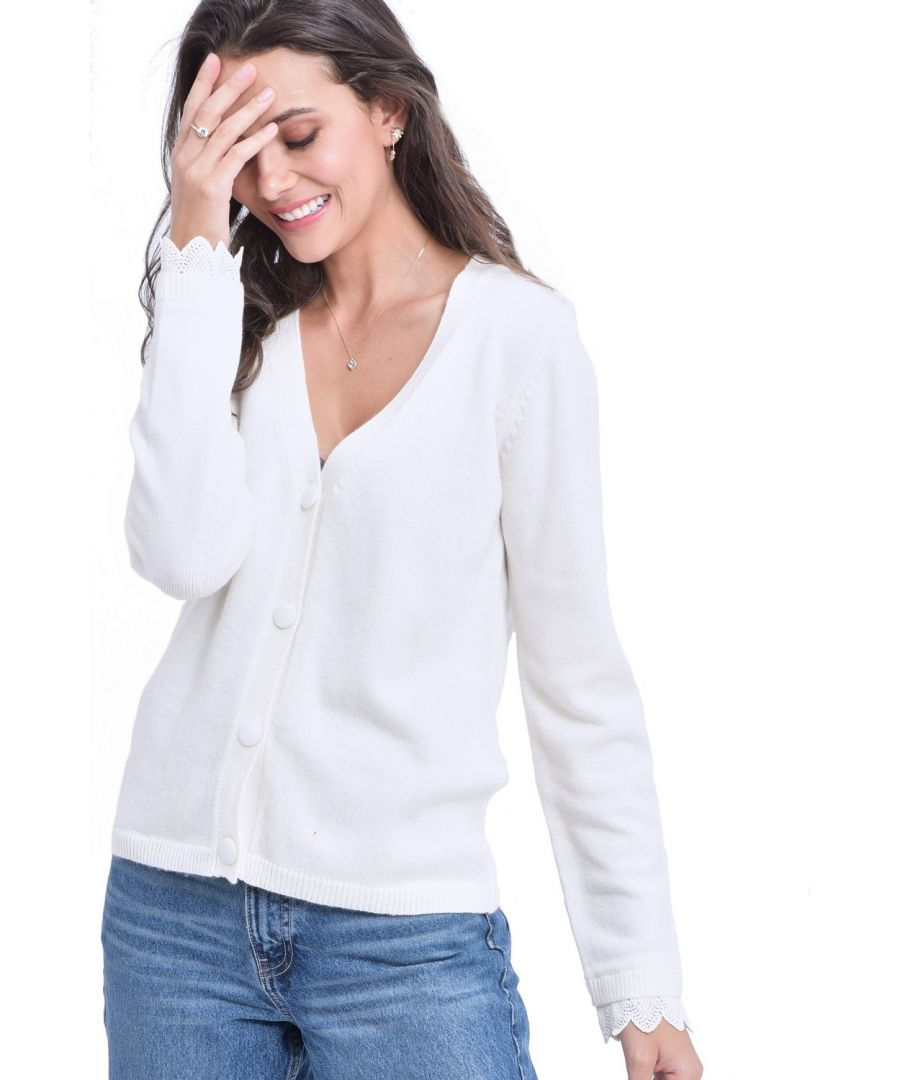 Image for William De Faye V-neck Cardigan with Lace Sleeve Detail in Natural