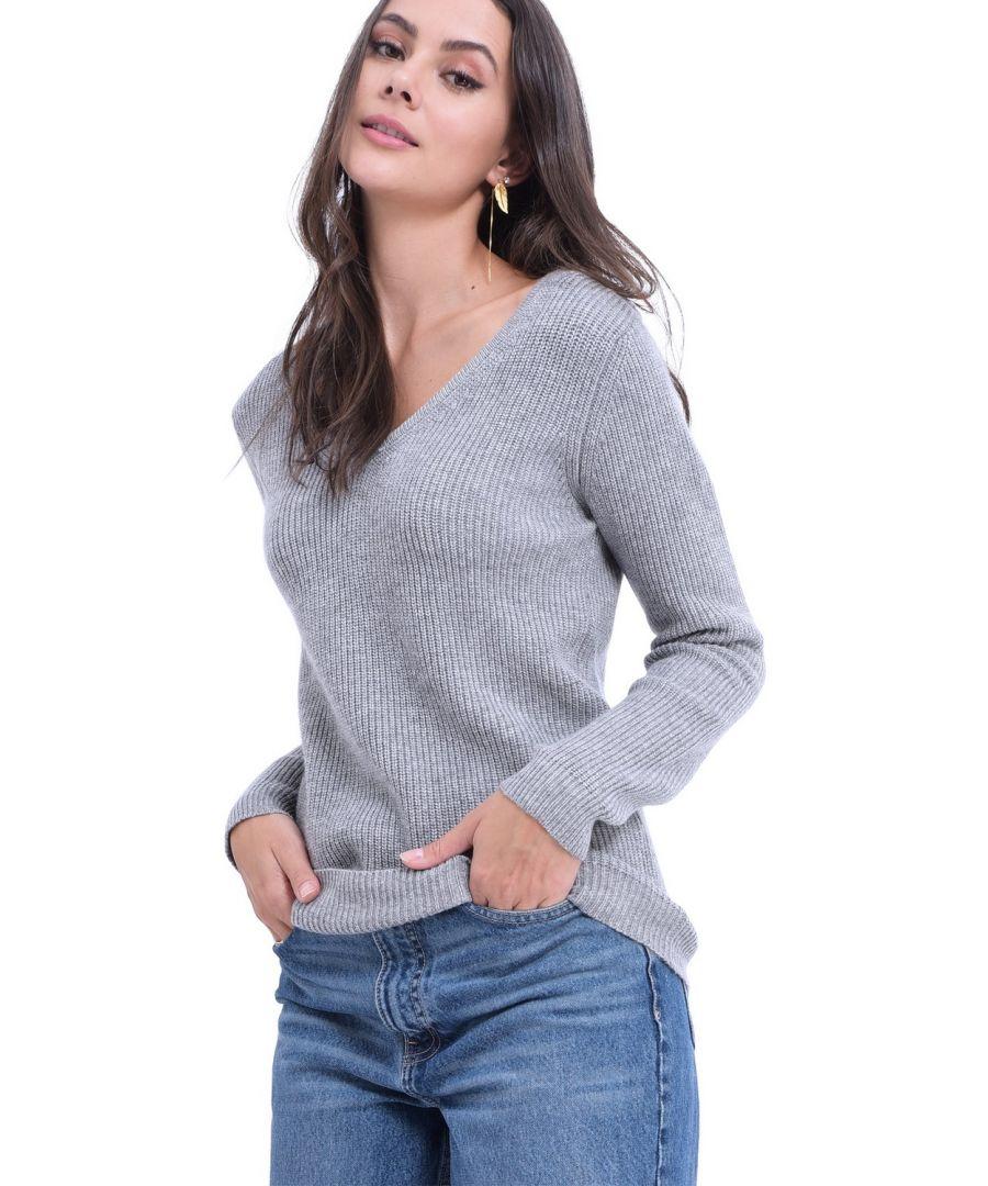 Image for William De Faye V-neck Button Shoulder Sweater in Light Grey
