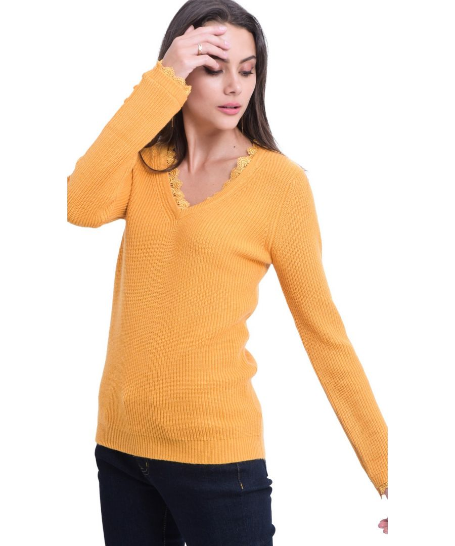 Image for William De Faye V-neck Lace & Button Sleeve Sweater in Mustard