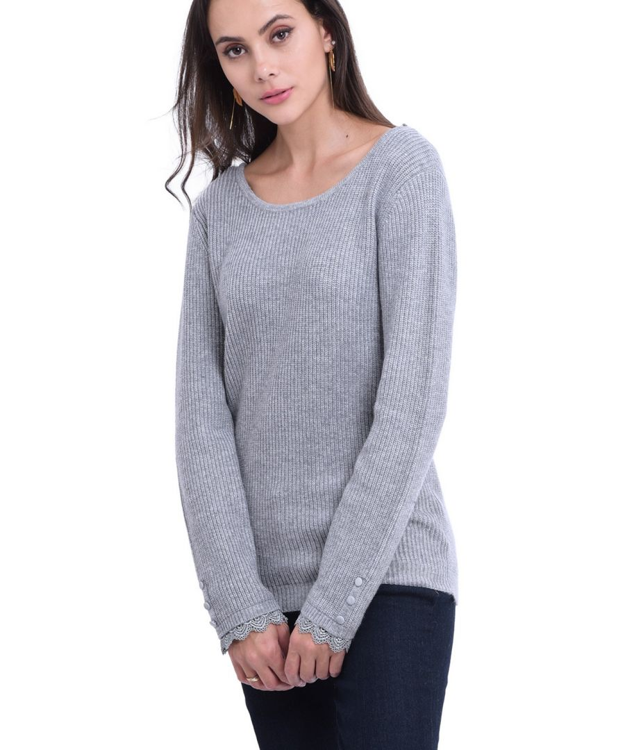Image for William De Faye Boat Neck V-Back Sweater with Lace Detail in Light Grey