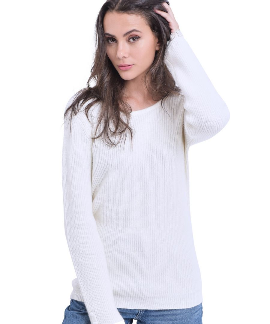 Image for William De Faye Boat Neck V-Back Sweater with Lace Detail in Natural