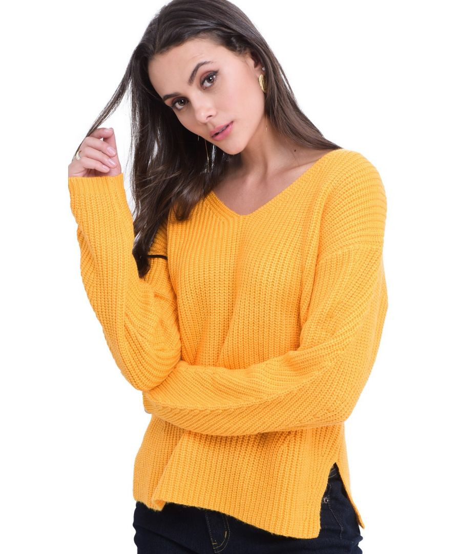 Image for William De Faye V-neck Ribbed Sweater in Mustard