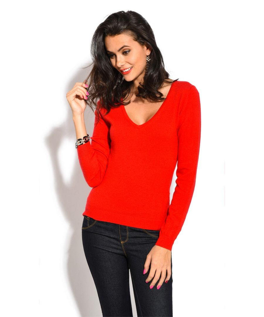 Image for William De Faye V-Neck Long Sleeve Sweater in Red