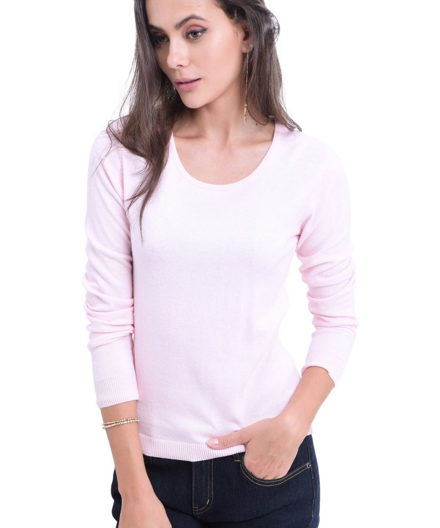Image for William De Faye Round Neck Long Sleeve Sweater in Pink