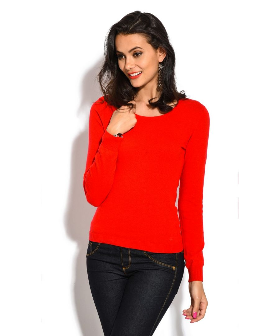 Image for William De Faye Round Neck Long Sleeve Sweater in Red