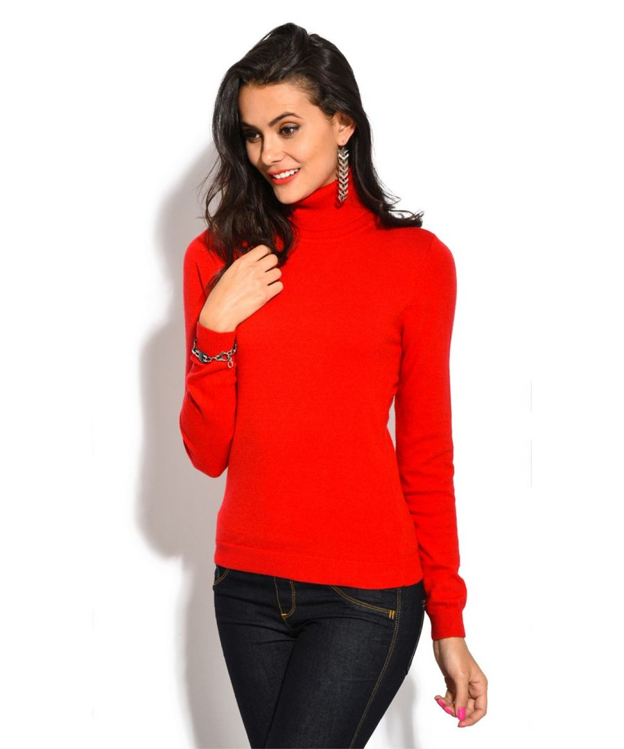 Image for William De Faye Rollneck Long Sleeve Sweater in Red