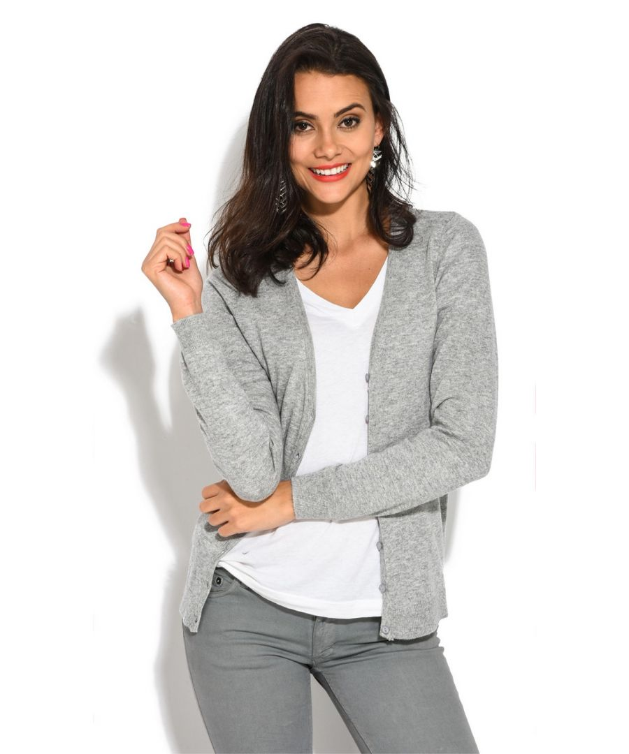 Image for William De Faye V-Neck Long Sleeve Buttoned Cardigan in Grey