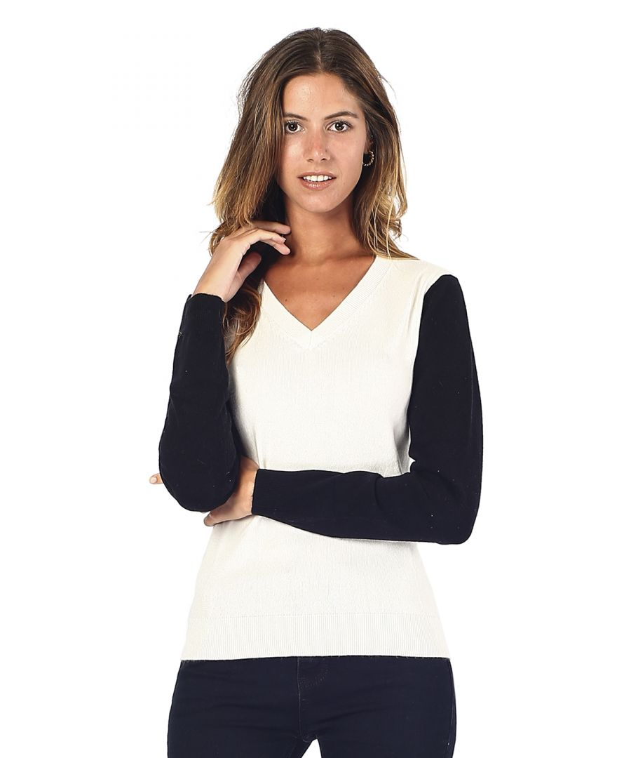 Image for William De Faye V-neck Two-tone Sweater in Natural