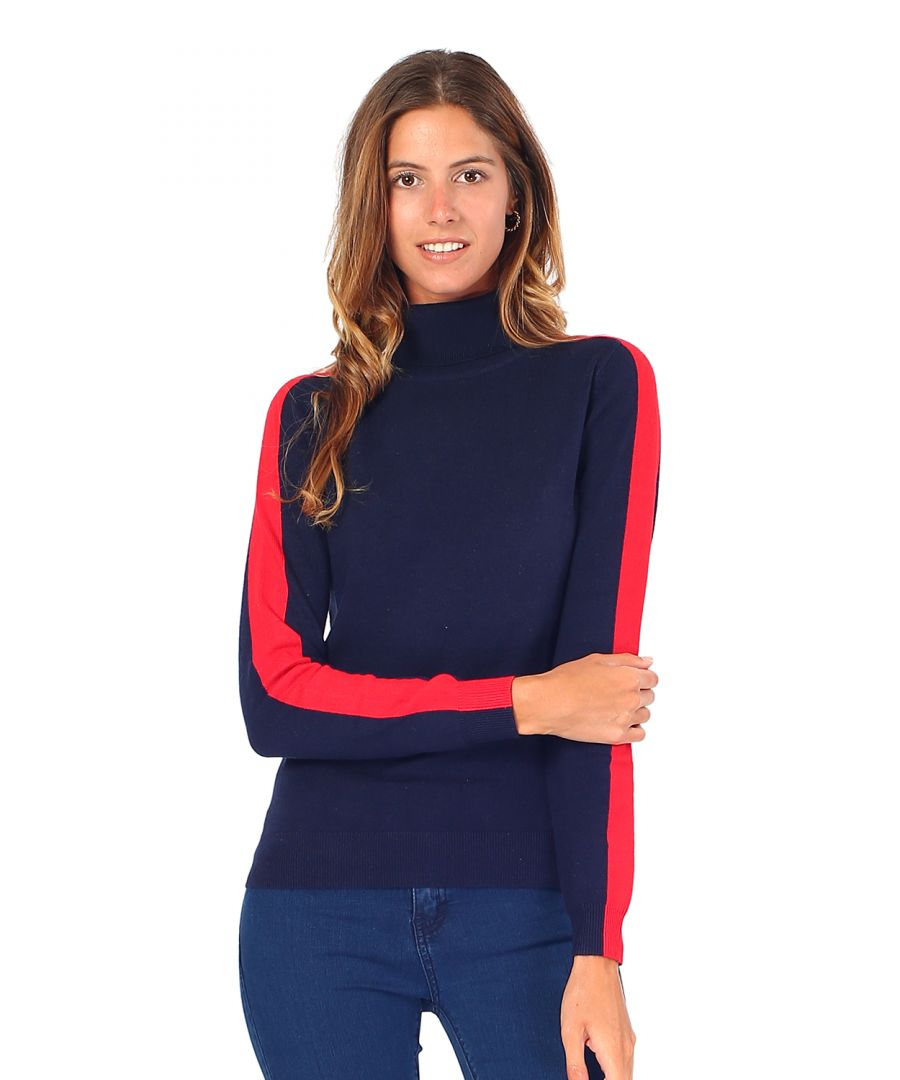 Image for William De Faye Turtleneck Sweater with Two-tone Sleeves in Navy