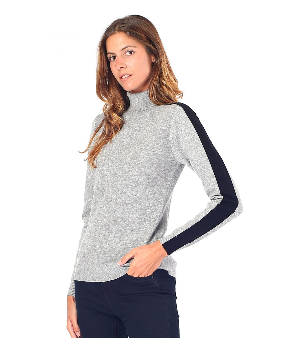 Image for William De Faye Turtleneck Sweater with Two-tone Sleeves in Grey