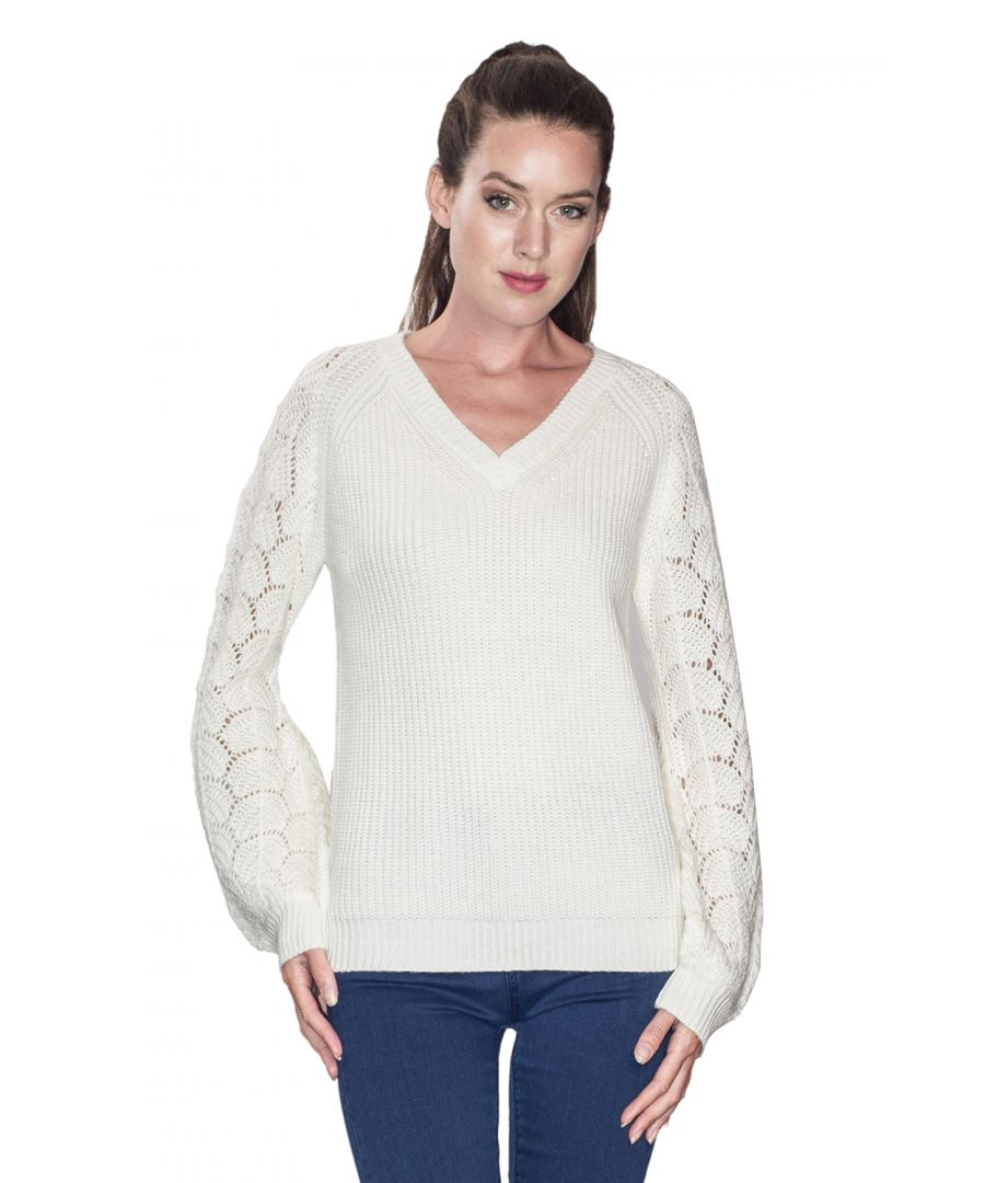 Image for William De Faye V-neck Sweater with Open Stitch-work Sleeves in Natural
