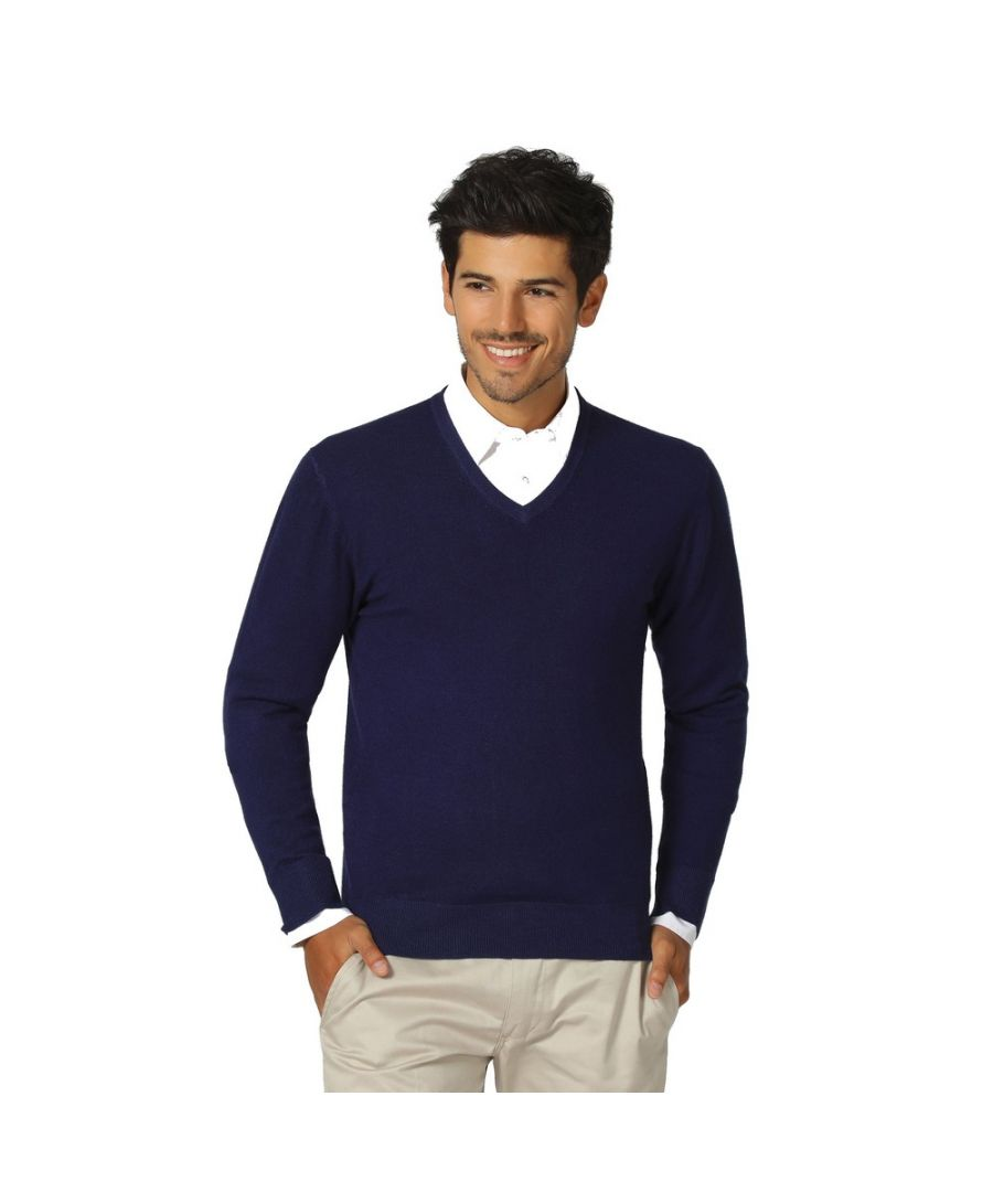 Image for William De Faye V-neck Long Sleeve Sweater in Navy