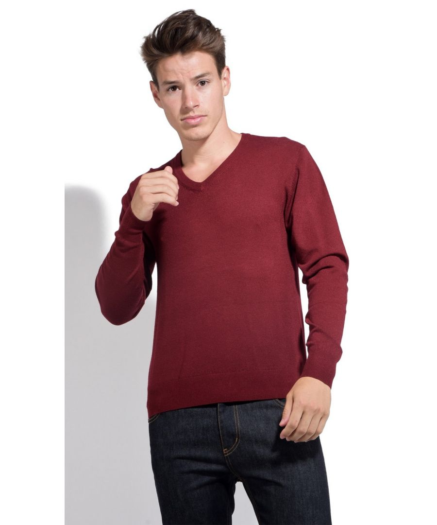 Image for William De Faye V-neck Long Sleeve Sweater in Maroon