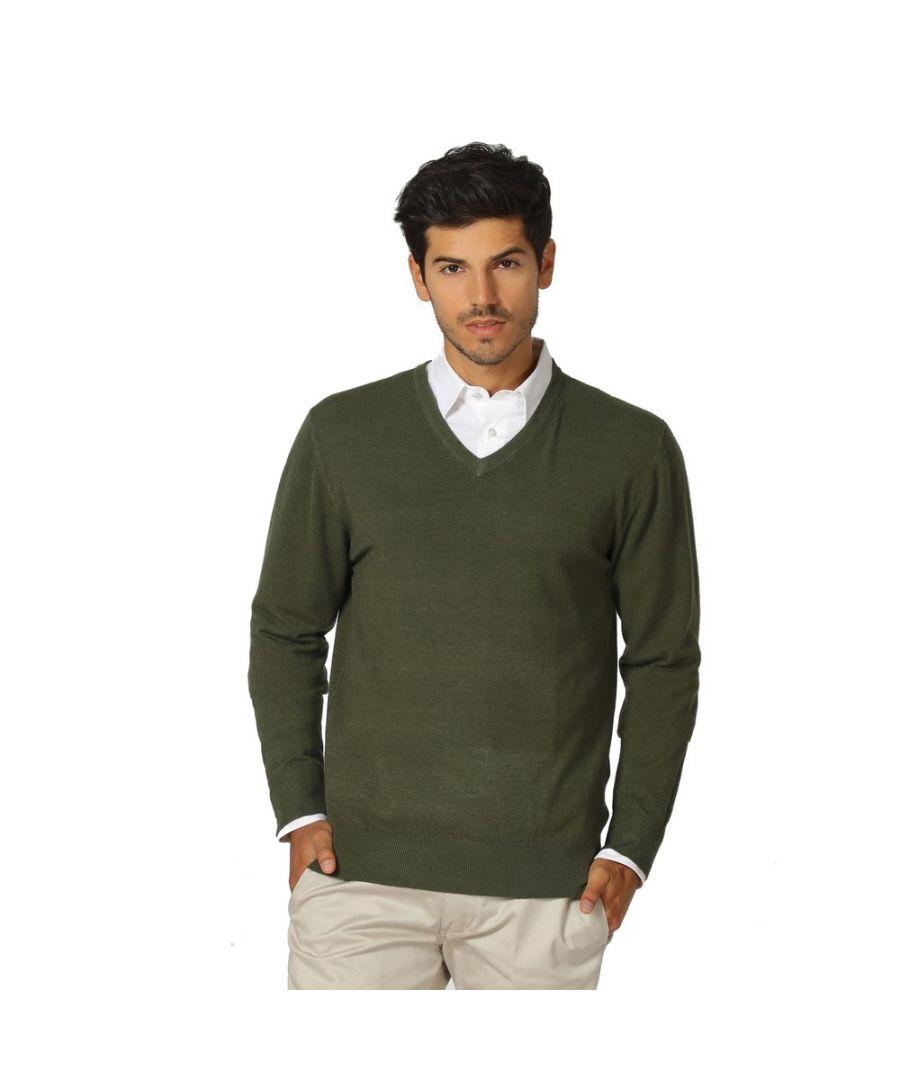 Image for William De Faye V-neck Long Sleeve Sweater in Khaki
