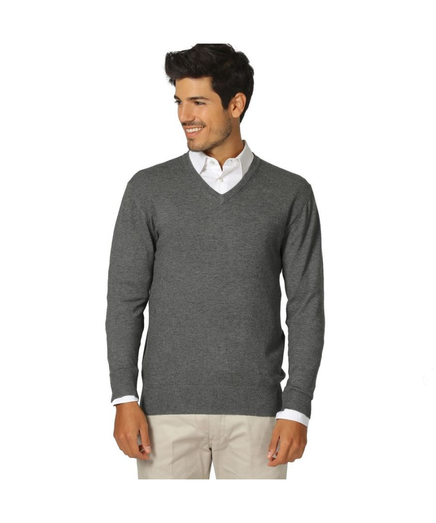 Image for William De Faye V-neck Long Sleeve Sweater in Grey
